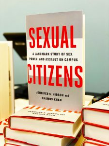 """The front cover of the book, """"Sexual Citiens: A Landmark Study of Sex, Power, and Sexual Assault on Campus"""" propped up at the book signing"""