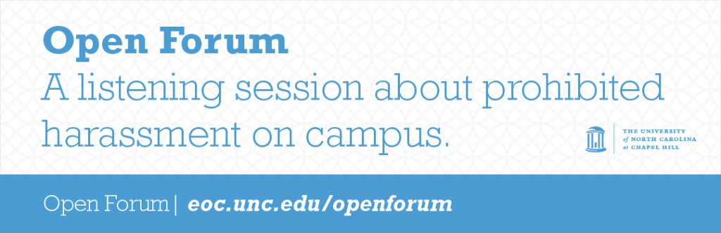 Web Header for Open Forum: A Listening Session About Prohibited Harassment on Campus.