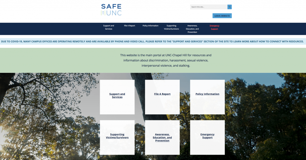 Safe at UNC homepage